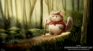 Daily Paint 2231. Norwegian Forest Cat by Cryptid-Creations