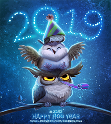 Daily Paint 2232. Happy Hoo Year by Cryptid-Creations