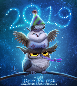 Daily Paint 2232. Happy Hoo Year