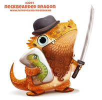 Daily Paint 2241. Neckbearded Dragon by Cryptid-Creations