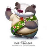 Daily Paint 2283. Merit Badger by Cryptid-Creations