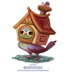 Daily Paint 2302. Birdhouse by Cryptid-Creations