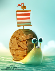 Daily Paint 2356. Snailboat by Cryptid-Creations