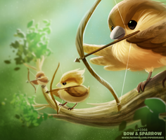 Daily Paint 2366. Bow and Sparrow