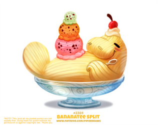 Daily Paint 2384. Bananatee Split by Cryptid-Creations