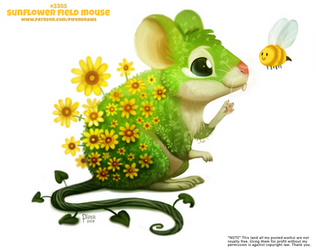 Daily Paint 2385. Sunflower Field Mouse by Cryptid-Creations