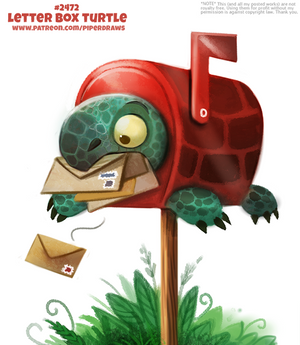 Daily Paint 2472. Letter Box Turtle
