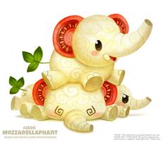 Daily Paint 2500. Mozzarellaphant