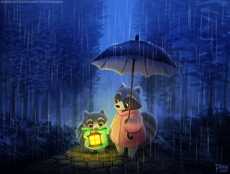 #2525. Rainy Stroll - Illustration