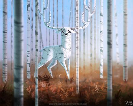 #2541. Birch Deer - Illustration
