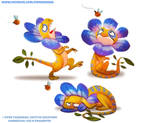 #2607. Flowered Lizard - Designs by Cryptid-Creations