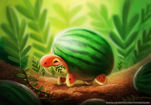 #2613. Watermelon Turtle - Illustration