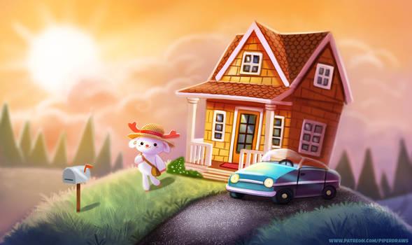 #2640. Hilltop Home - Illustration