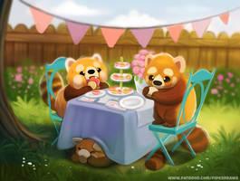 #2675. Red Panda Tea Party - Illustration