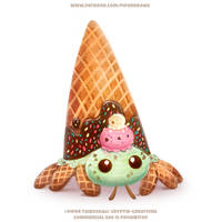 #2716. Hermit Crab Ice Cream - Illustration