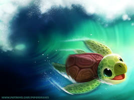 #2730. Turtle Surfer - Illustration