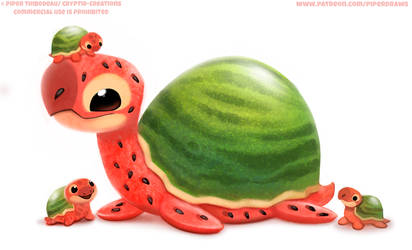 #2808. Watermelon Turtle - Illustration