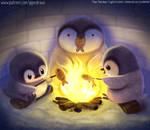 #2924. Penguin Campfire - Illustration