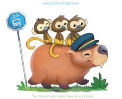 3022. Capybara Bus - Illustration