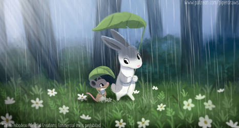 3034. A Walk in the Rain - Illustration