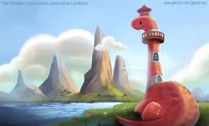 3042. Dinosaur Lighthouse - Illustration