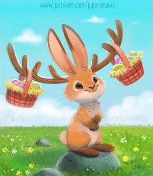 3056. Easter Jackalope - Illustration
