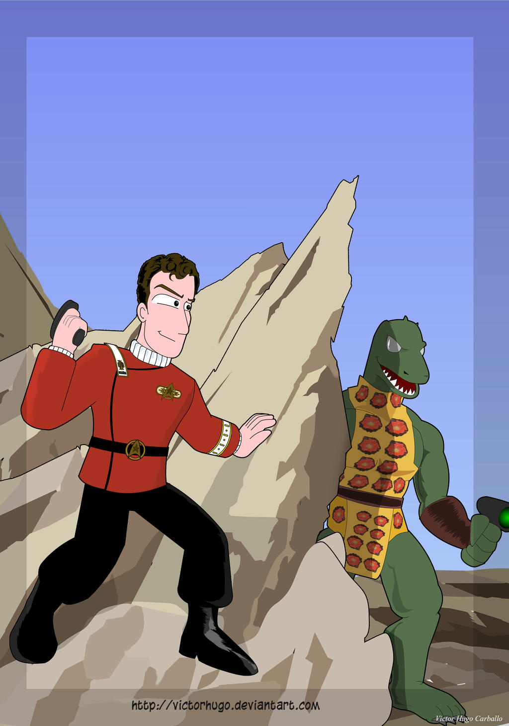 Captain Kirk Vs Gorn by VictorHugo