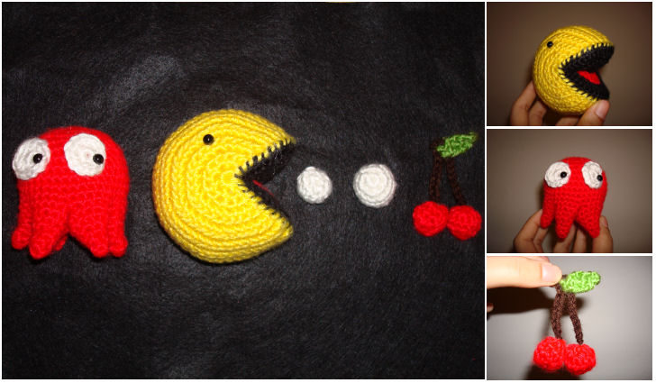 Crochet Pac-Man + Ghost, Fruit by katrivsor