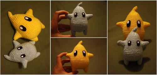 Mini Crochet MarioGalaxy Lumas by katrivsor