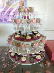 Baptism Cupcakes and Macaron Pops by katrivsor