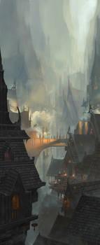 Medieval Cave City Concept art