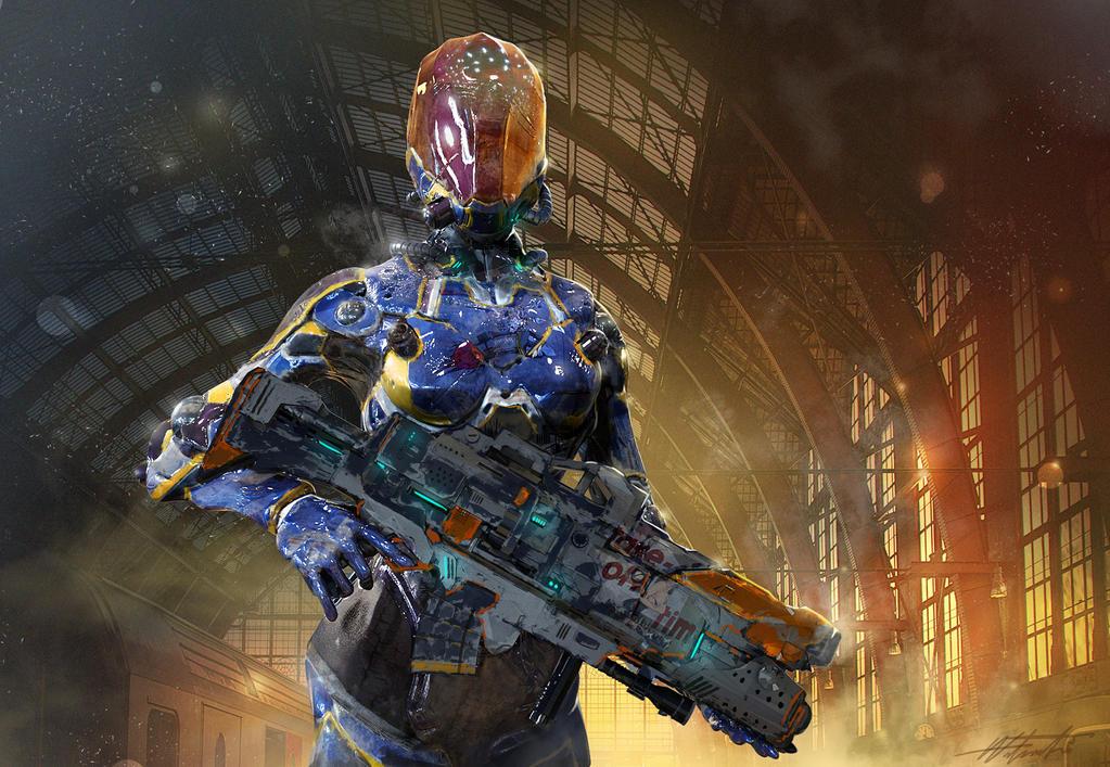 Female Battle Armor by linweichen