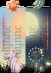 Pokemon Bookmark:Eeveelution- Espeon and Umbreon