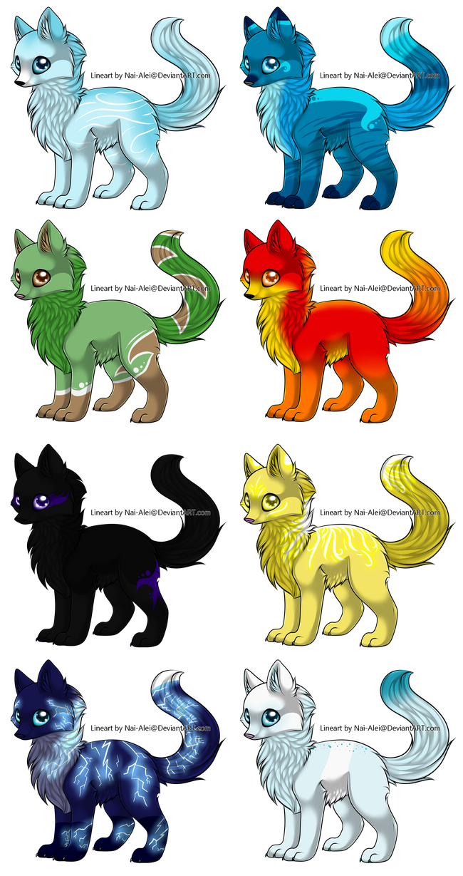 Element wolf adopts open by tailwalker on deviantart