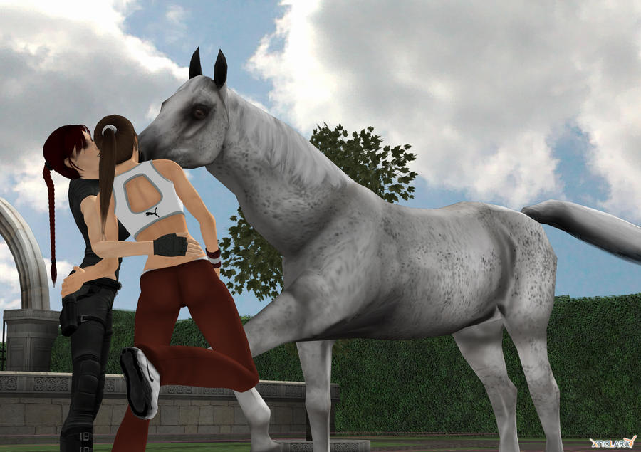 lara croft and horse