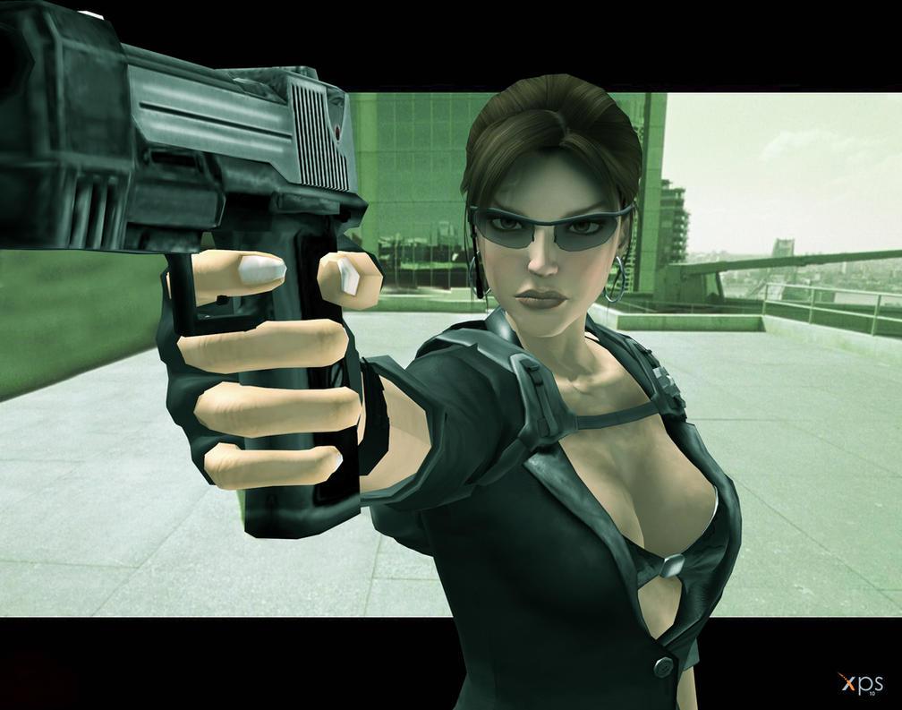 Lara as Trinity, Matrix 'Dodge this' by DoppieCroft