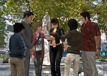 Lara and her admirers at Leicester Square by DoppieCroft