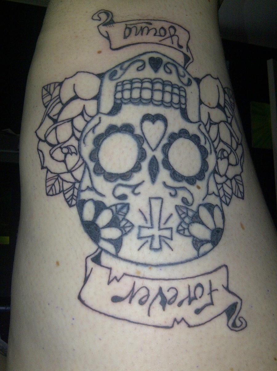 Sugar skull tattoo by harley quinnxo on deviantart for Harley skull tattoos
