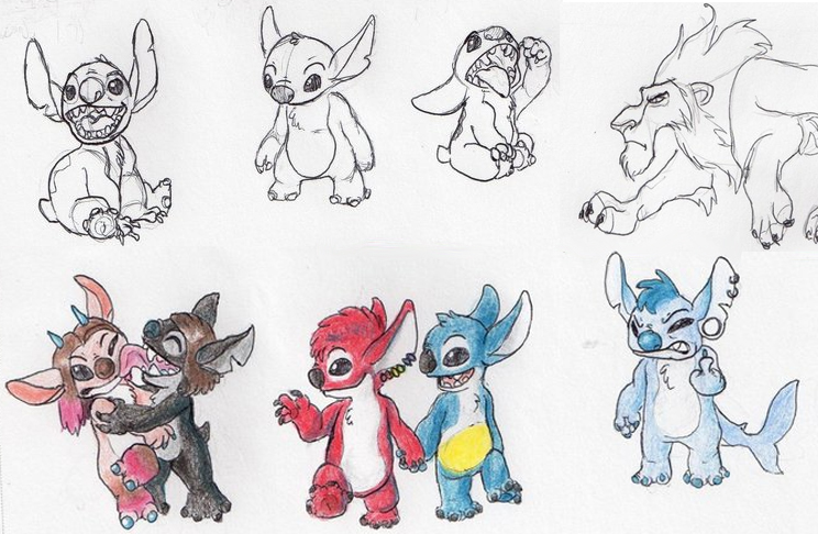 Cute Drawings Of Stitch And His Girlfriend Stitch Drawings by    Ch2oh Molecular Geometry