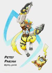 Pokemon X Overwatch: Zeraora and Pikachu X Tracer by PeteyPariah