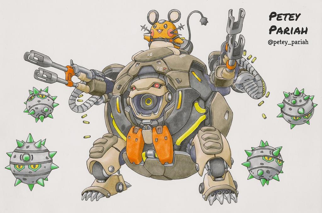 Pokemon X Overwatch: Dedenne X Hammond by PeteyPariah