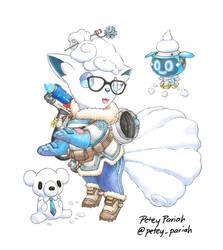 Pokemon X Overwatch: Alolan Vulpix X Mei by PeteyPariah