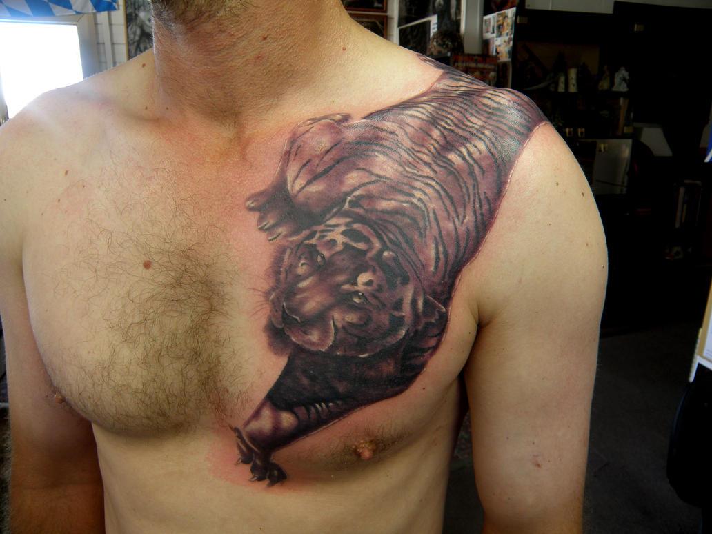 cool tiger - chest tattoo