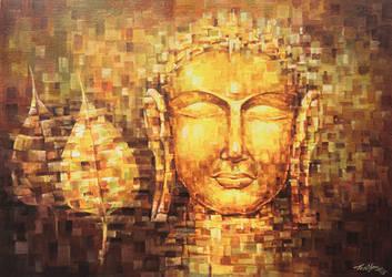 Buddha and Banyan leaf by crazymynd