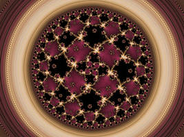 Hyperbolic tiling with golden ratio tiling pistil by DinkydauSet