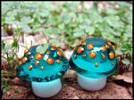 Glass Lampwork Mushroom Beads - Dreadlock