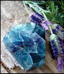 Rainbow Fluorite - in my lavender garden