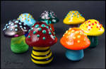 Glass Lampwork Dreadlock Beads - Mushrooms