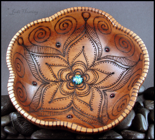 Star DustLotus - Wooden Offering - Meditation Bowl by andromeda