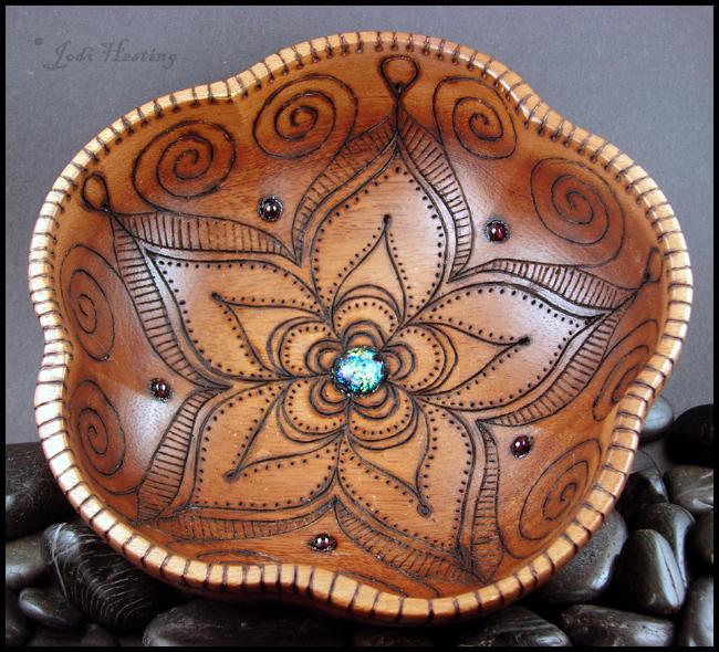 Star DustLotus - Wooden Offering - Meditation Bowl by andromeda